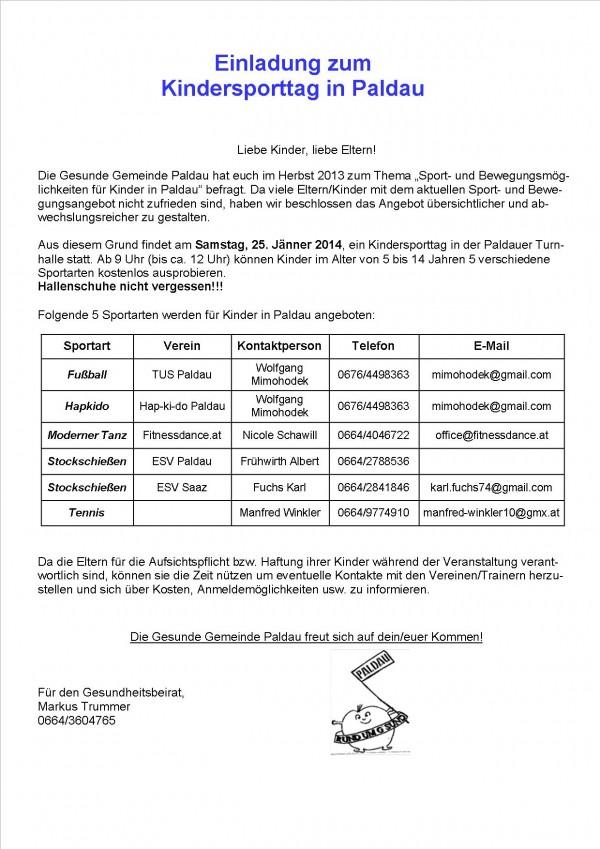 Einladung zum Kindersporttag in Paldau